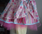 Girls size 5 Layered Circle Skirt with Tutu Petticoat and Knit Leggings