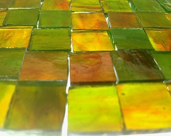 """100  1/4""""  RED ORANGE & GREEN Transparent Stained Glass Mosaic Tile T9"""