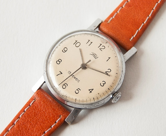 Ladies mechanical wrist watch Zarja, rare, silver, orange tones, USSR