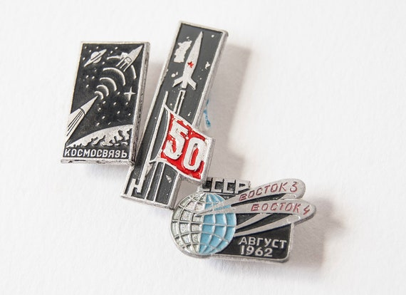 Rare Soviet pins, space program, spacecrafts Vostok, grey, black, blue tones badges