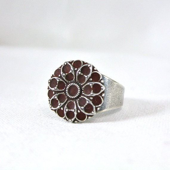 Silver flower ring bohemian style adjustable ring enamel jewelry fashion jewelry 2012 unique gift for her