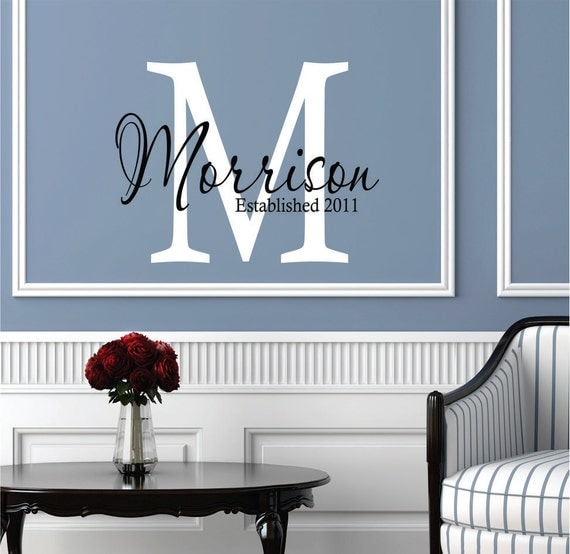 Wall decals personalized family name custom name wall decal for Monogram wall decal