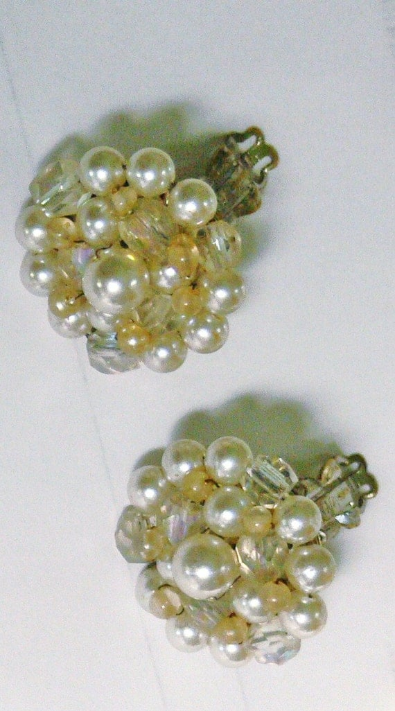 Japan glass beaded and  pearl   clip  earrings
