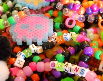 Halloween Kandi Trick or Treat Bag - Horror, Zombie, Monster, and Candy Themed Bracelets, Phatties, and Chokers