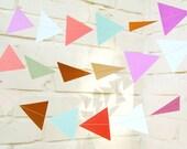 The Geo Garland, Paper Garland, Triangle Garland, Coral, Purple, Turquoise, Tan, Light Blue, Birthday Decoration, Wedding Garland