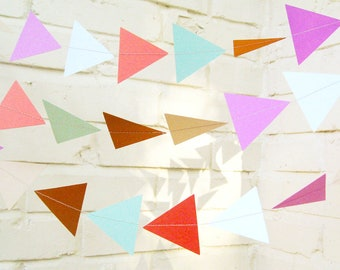 The Geo Garland, Paper Garland, Triangle Garland, Coral, Purple, Turquoise, Tan, Light Blue, Birthday Decoration, Wedding Garland