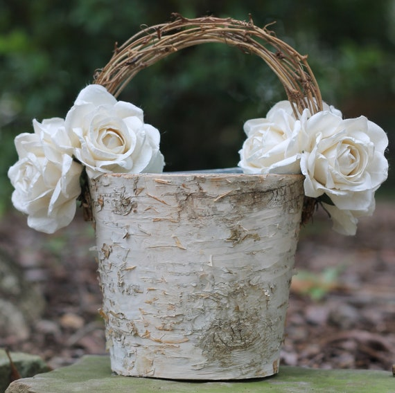 Flower Girl Basket Birch Shabby Chic Rustic Wedding