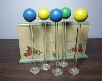 Vintage Glass Stirrers Muddlers with round wooden tops
