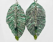 """Statement Earrings, 3"""" Green Metal Lace Formed Leaf Earrings, Lever back Ear wires"""
