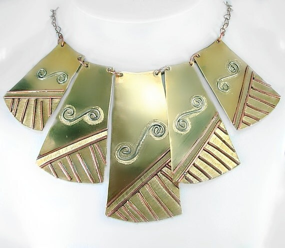 Statement Necklace, Mixed Metal Cleopatra Bib, Egyptian, Art Deco Style, Sterling, Brass, Copper, Geometric, gift for her under 100, unique