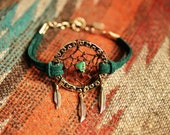 Dream Catcher Bohemian Layering Bracelet. Peacock Green Suede Boho Dreamcatcher Bracelet  Made to Order