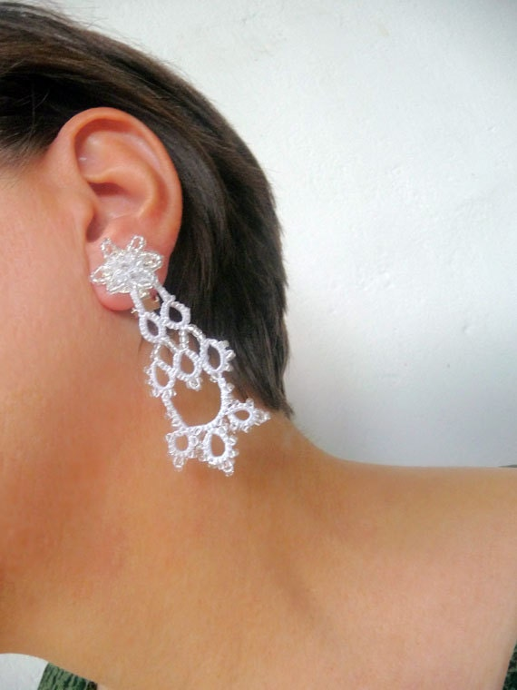 Clip earrings of tatting Aurora - gift for her - wedding accessories - handmade Jewerly
