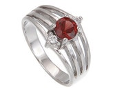 Natrual Red Garnet and Ascent Stone White Topaz Sterling Silver Women Ring