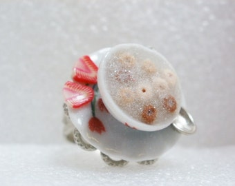 Bowl Of Cereal Ring. Polymer Clay.
