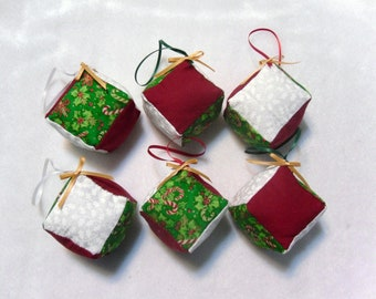 Six Stuffed Cube Ornaments  O-026
