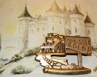 """Signed """"JJ""""  Home """"SOLD"""" House brooch pin"""