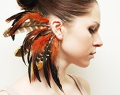 Feather Ear Cuff - Fire Tiger