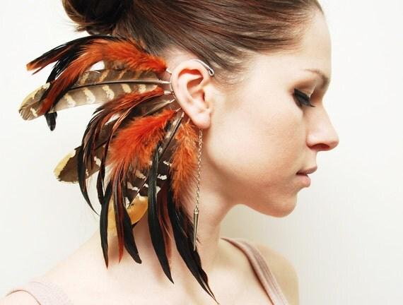 Feather Ear Cuff - Fire Tiger