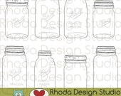 Vintage Mason Jar Stamps Digital Clip Art Retro