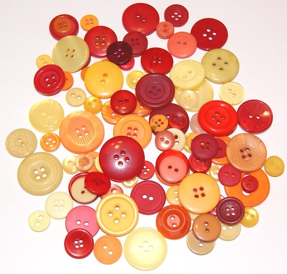 100 Yellow Orange Red Buttons with Holes Round Circular Heart Lot for Sewing Scrapbooking Altered Art Grab Bag