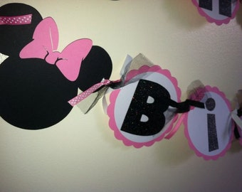 Minnie Mouse Hot pink Birthday Banner, minnie mouse banner, Minnie Theme Party