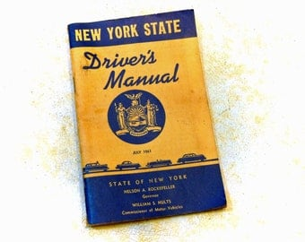 1961 New York State DRIVERS MANUAL - Great Vintage Ephemera with 1930s Graphics - Free Shipping