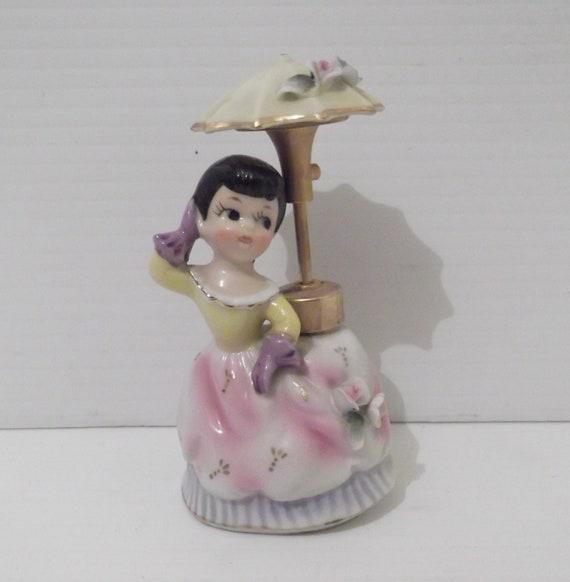 Vintage Dev Umbrella Girl Perfume Atomizer Bottle - Mint - RARE