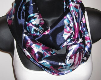 New Longer Summer Fun Butterfly Infinity Scarf, Blues, Pink, Purple and White
