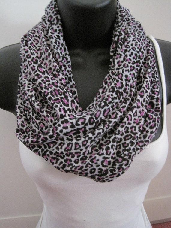 New Purple Black and Cream Cheetah Animal Print Infinity Scarf. Stretch Knit Fun and Sassy