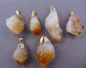 Citrine Point Pendant Raw Citrine electroplated gold (S122B1)