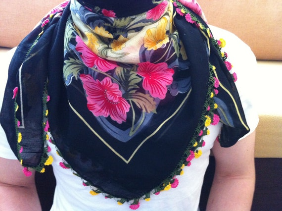 Turkish Scarf With Crochet Flower, 2012 Summer Trendy, Coton Fabric scarf