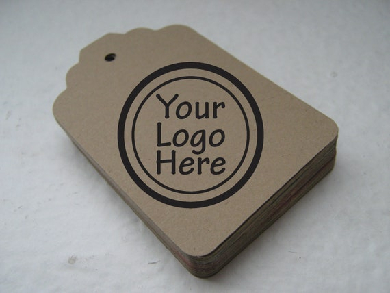 Merchandise Swing Tags Customized with Your Logo Handmade Items - Set of 110 - Small Kraft Brown