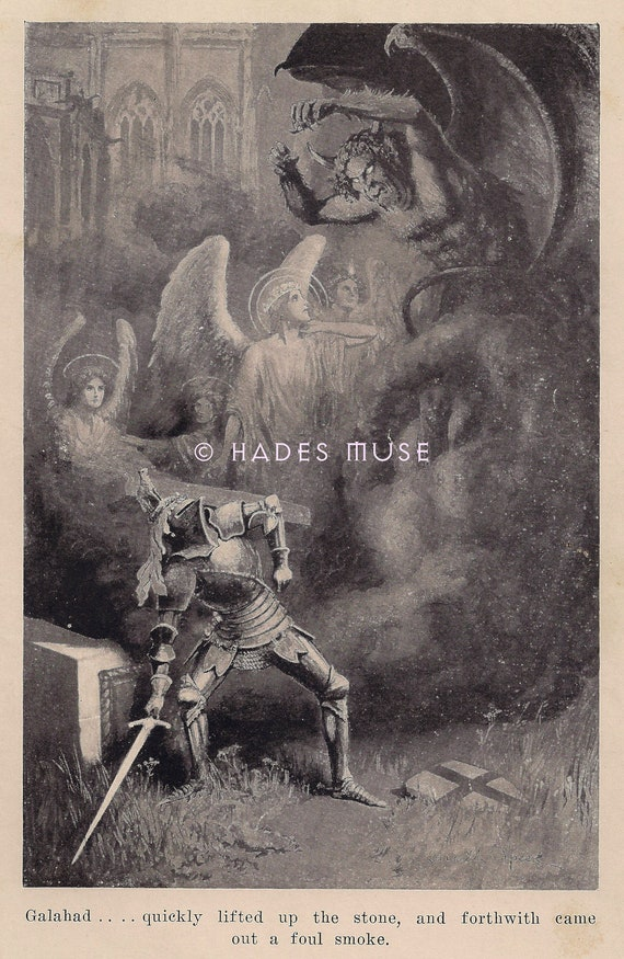 Brave Knight Fights Satan-The Devil-1912 Antique Vintage Art Print-Gothic Angels-Crusades-King Arthur-Sir Galahad-Graveyard-Tombstone