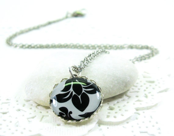 Black Lily on White Necklace (271) - FREE WORLDWIDE SHIPPING