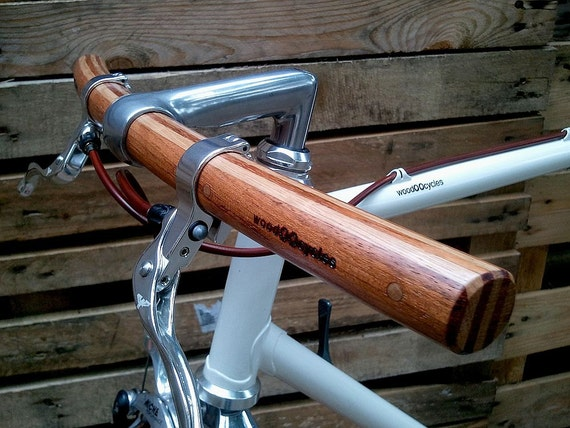 jatoba and oak curved bicycle handlebar