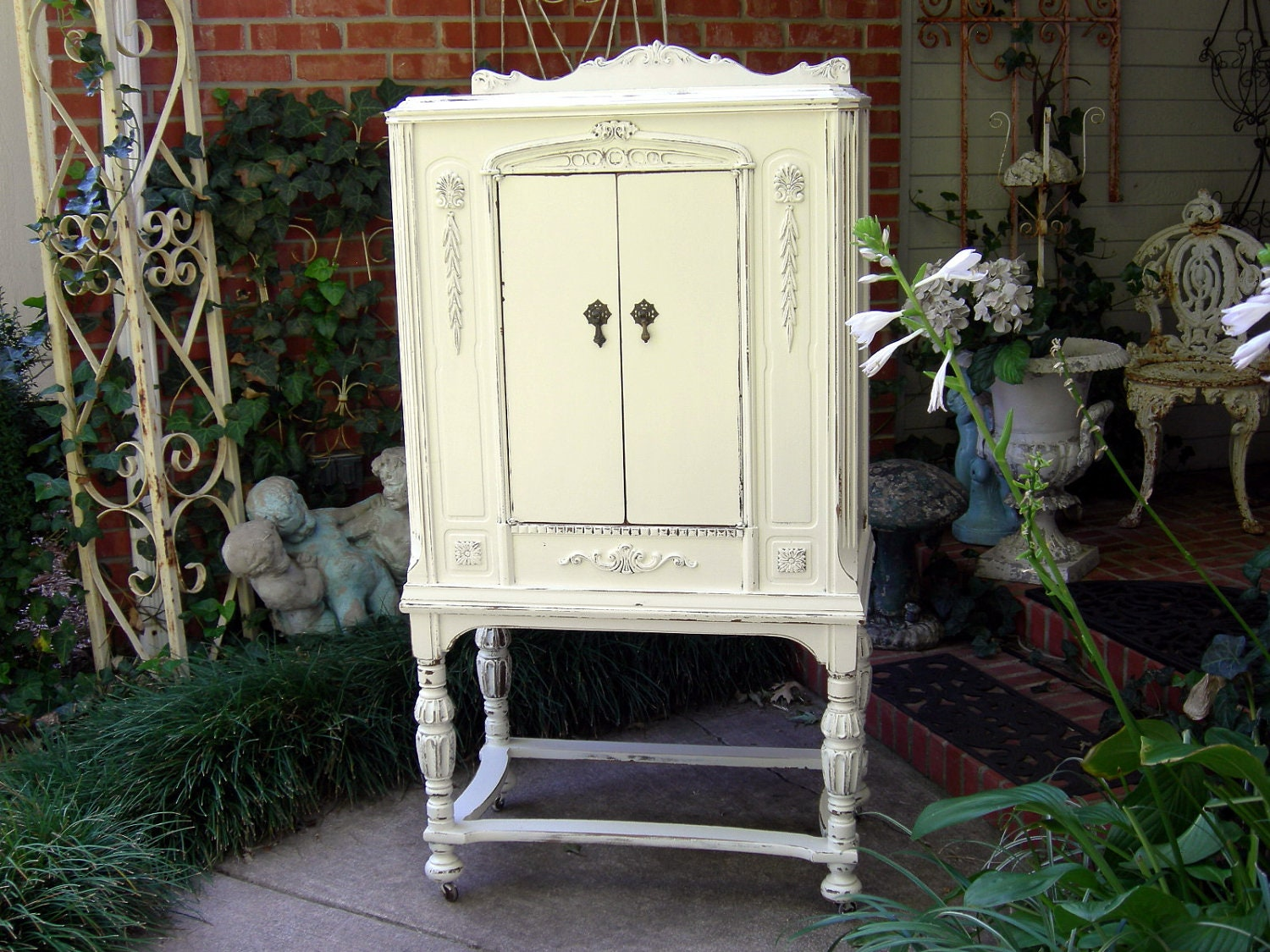 old mini armoire cabinet shabby chic french white display or. Black Bedroom Furniture Sets. Home Design Ideas