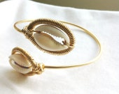 PISCES - Double Cowrie Shell Wrapped Adjustable Bangle