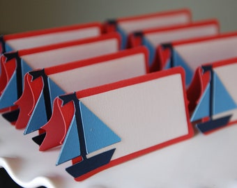 Sailboat Place Cards, Sailboat Food Labels, Sailboat Party Supplies, Nautical, Red, White and Blue 12 Pcs