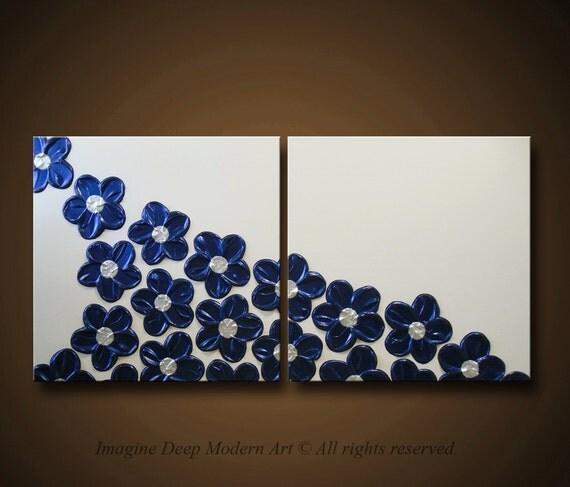 Blue Flower Painting - Royal, Navy, Indigo Blue, Pearl White, Cream, off-white - HUGE 48x24 High Quality Original Sculptural Modern Fine Art