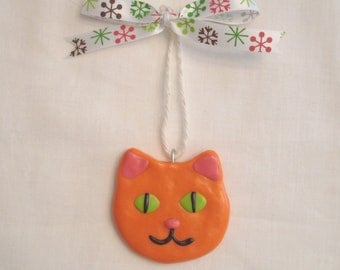 SALE Polymer Clay Cat Ornament -Orange Kitty Face for your Christmas Tree