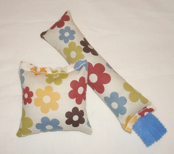 SALE Catnip Cat Toys - Kickstick & Pillow Set -  White with Colorful Daisy Fabric