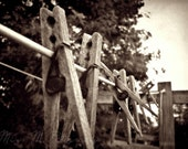 Wooden clothespins on clothesline, rustic, sepia, farmhouse, country, home decor, laundry room, original fine art photograph, 8x10 print