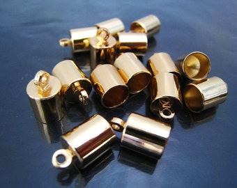 Finding - 20 pcs Gold Leather Cord Ends Cap with Loop For Round Leathers 12mm x 8mm ( inside 7mm diameter )