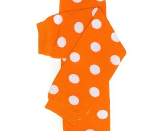 Baby, Toddler, or Girls Polka Dotted Leg Warmers - Orange