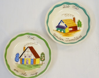 Pair of two Mid Century Ceramic Hand Painted Beverage Drink Coasters Made in Japan