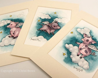 Three Little Flying Pigs Fantasy Art Print Set 5 x 7 Cute Winged Piglets