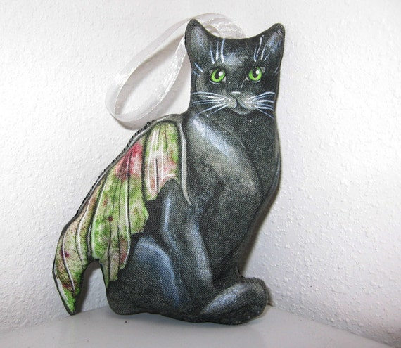 Christmas Tree Made Of Black Cats: Black Cat Fairy Fabric Christmas Tree Ornament By
