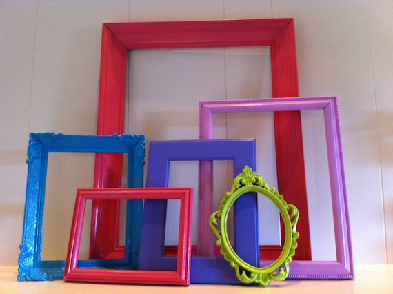 Gallery Wall Frames, Vintage Painted Frames, Princess and the Pea, Unique Funky Home Decor