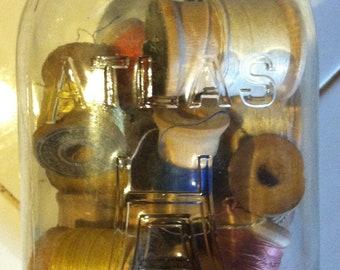 Vintage Ball Mason Jar with Vintage Wood Spools