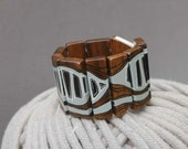 Wooden Bracelet Gray  Hand Painted Walnut Wood Bracelet Wearable Art  Geometric Bracelet Jewelry - NUTAK